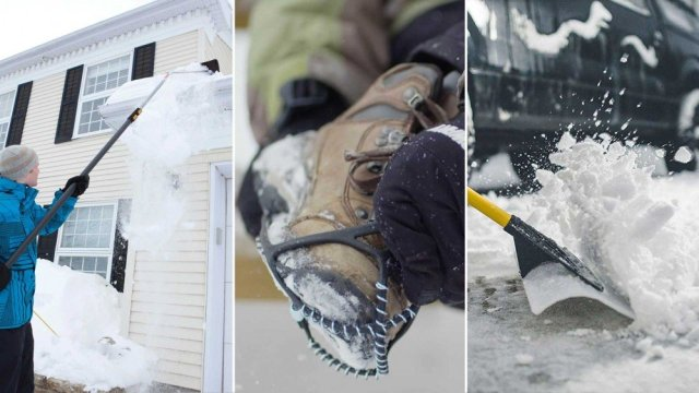 From left to right: a snow shovel on the roof, non-slip crampons for your boots and a large shovel for pushing the snow.