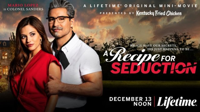 A movie poster for 'A Recipe for Seduction' starring Mario Lopez as Colonel Sanders