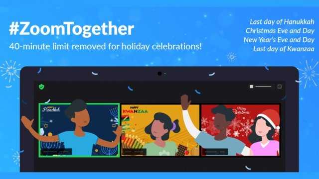 A banner celebrating Zoom's unlimited meeting time during the holidays.