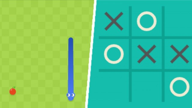 Google Snake and Tic-Tac-Toe screenshots