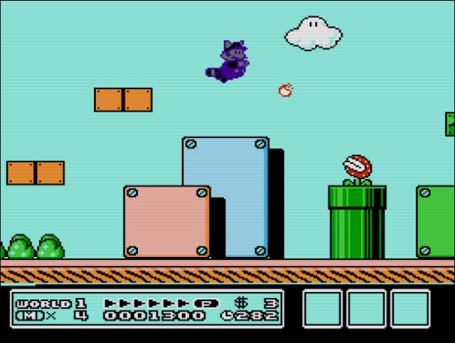 The Game Genie could produce some fun and new effects, like swimming purple raccoon Mario