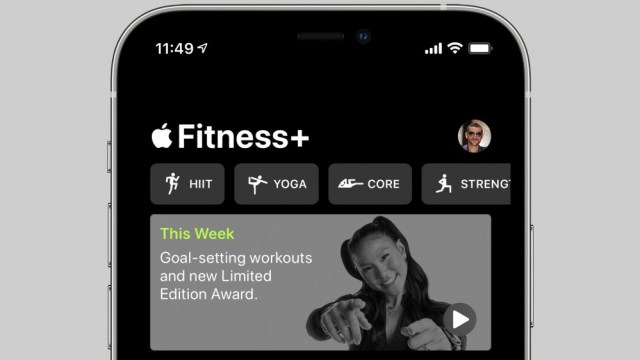 Apple Fitness + app showing new goal setting workout video