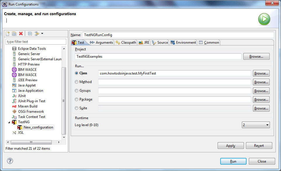 Create new TestNG configuration