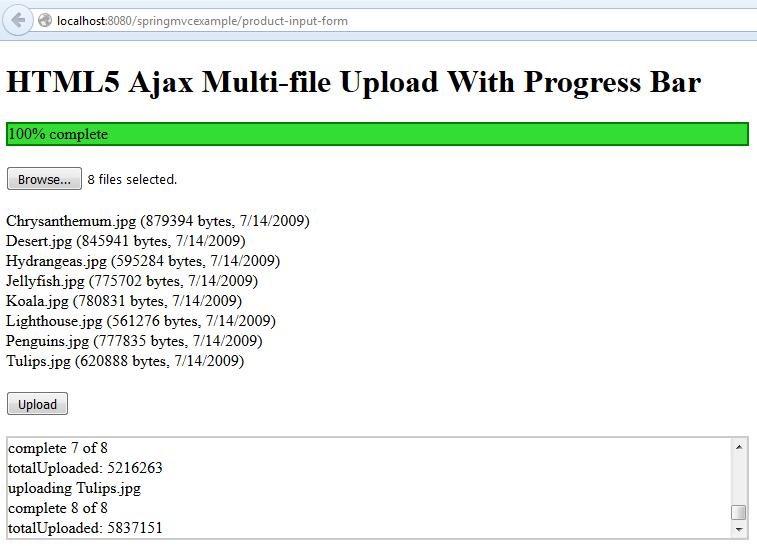 Multi-file Upload With Progress Bar - Upload Success