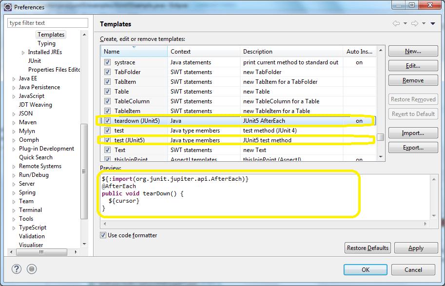 JUnit 5 Test Templates for Eclipse