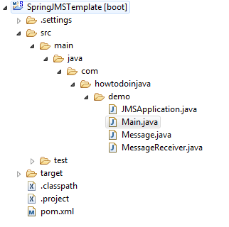 Spring Boot JMSTemplate - Project Structure