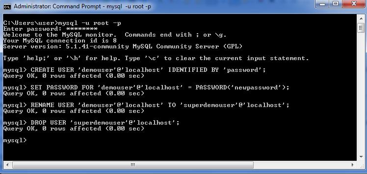 MySQL User set password + rename + drop
