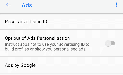 Opt out of Ads Personalisation