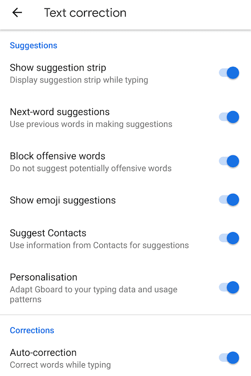 Text Correction Options in Google Keyboard