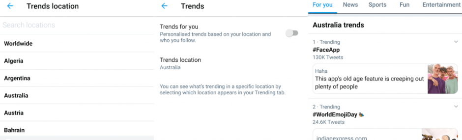 Twitter Trends Location Settings