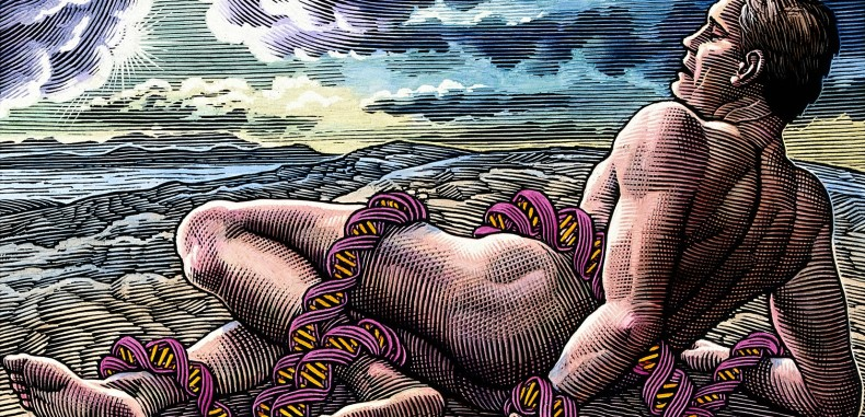 V0024969 A man entwined in the coils of DNA. Scraperboard drawing by Credit: Wellcome Library, London. Wellcome Images images@wellcome.ac.uk http://wellcomeimages.org A man entwined in the coils of DNA. Scraperboard drawing by Bill Sanderson, 1990. 1990 By: Bill SandersonPublished: [1990] Copyrighted work available under Creative Commons Attribution only licence CC BY 4.0 http://creativecommons.org/licenses/by/4.0/