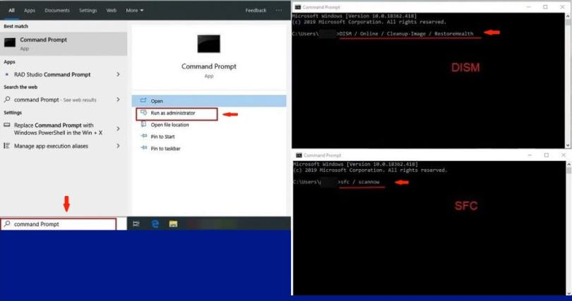 Your PC ran into a problem and needs to restart fix - sfc /scannow