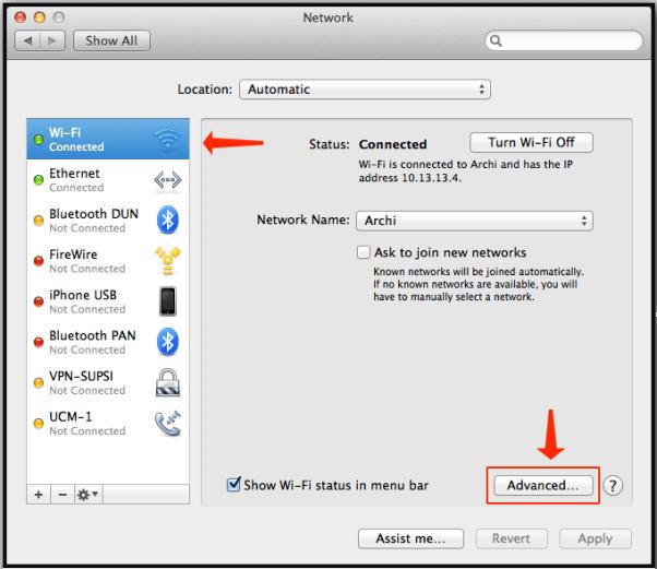 Wi-FiorEthernet Mac Advanced