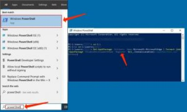 """powershell Get-AppXPackage -AllUsers -Name Microsoft.MicrosoftEdge 