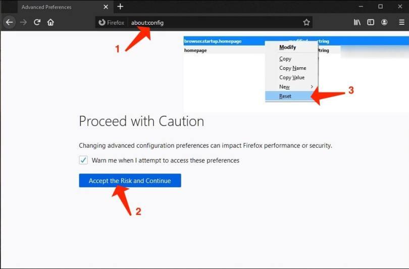 Amend settings in Firefox