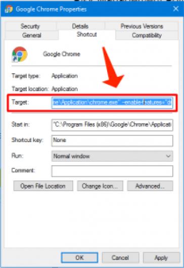 Chromeプロパティターゲット