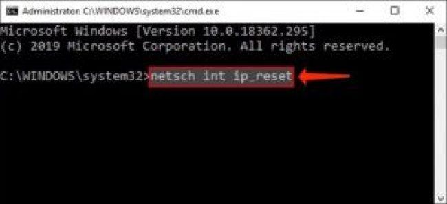 CMD netsh int ip reset