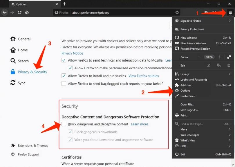 Switch off Deceptive Site Ahead alerts in Firefox
