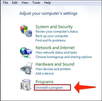 Uninstall a program on Windows 7