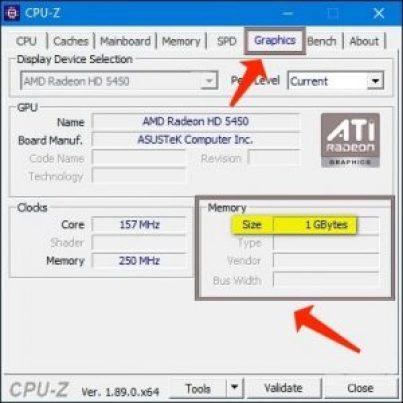 VRAM(グラフィックスカードビデオメモリ)の確認-CPU-Z