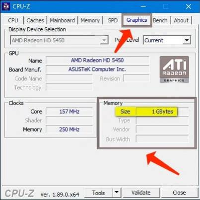 Check VRAM (Graphics Card Video Memory) - CPU-Z