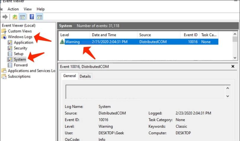 Locate the cause of DPC Watchdog Violation by means of the Event Viewer