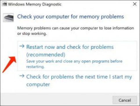 Überprüfen Sie den Computer auf Speicherprobleme
