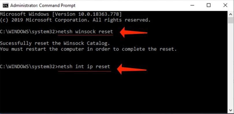 netsh winsock/int ip reset