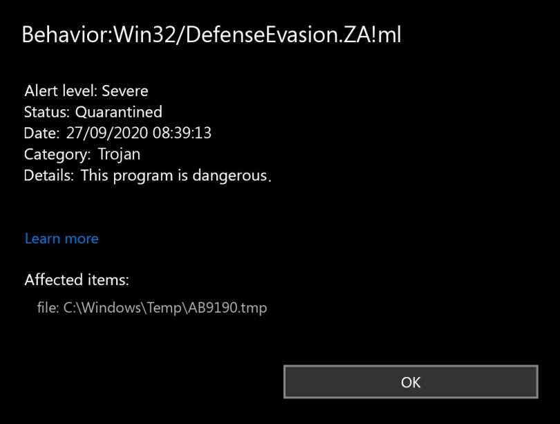 Behavior:Win32/DefenseEvasion.ZA!ml found