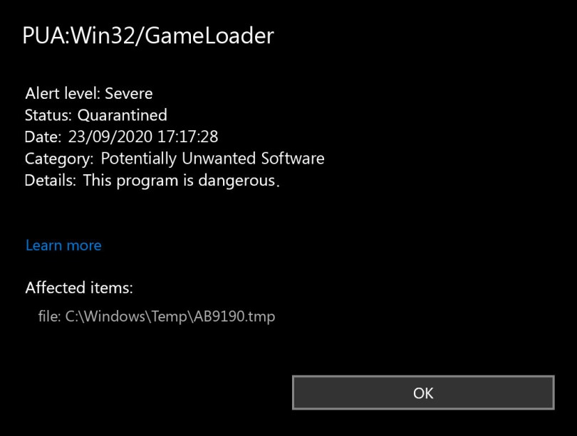 PUA:Win32/GameLoader found