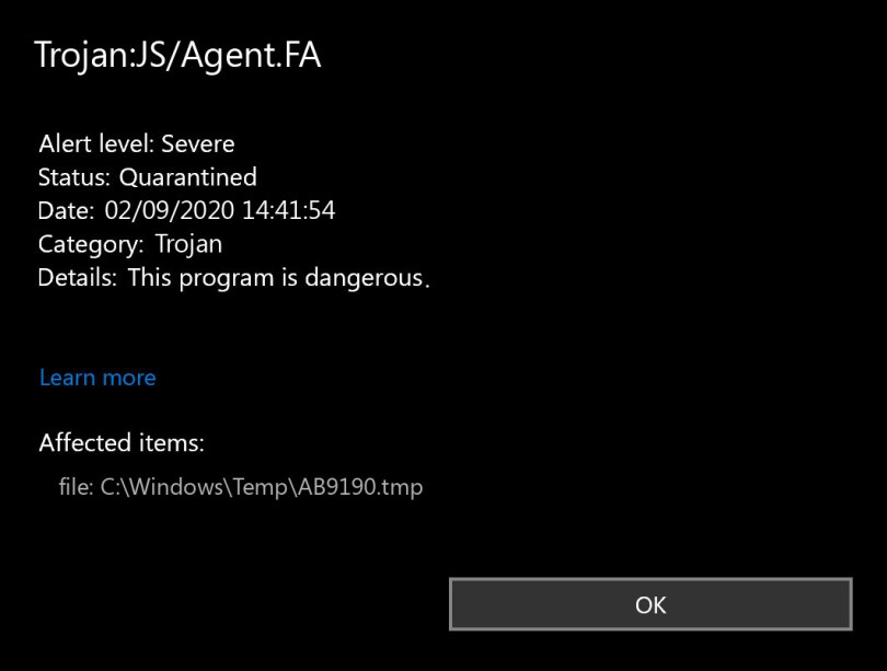 Trojan:JS/Agent.FA found