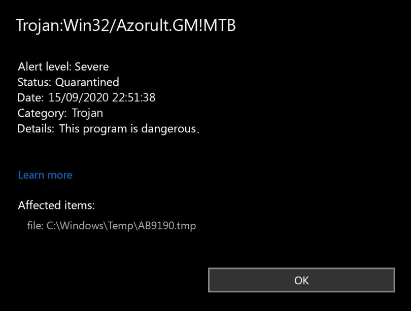 Trojan:Win32/Azorult.GM!MTB found