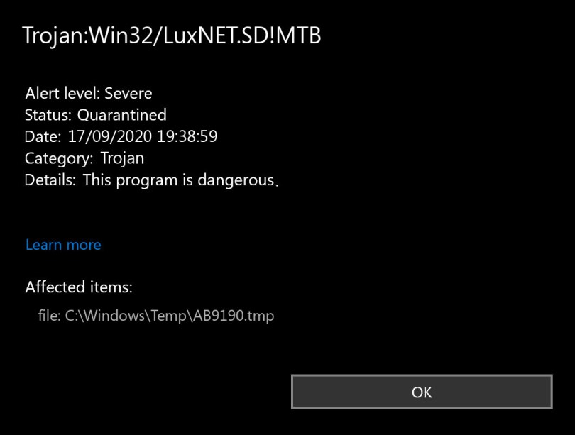 Trojan:Win32/LuxNET.SD!MTB found