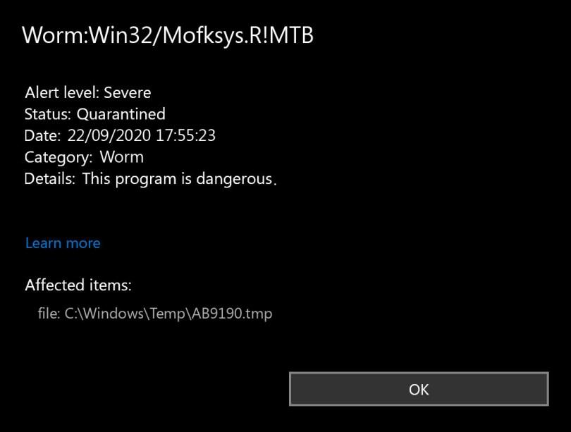 Worm:Win32/Mofksys.R!MTB found