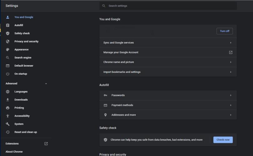 GoogleChromeメニュー-リセットしてクリーンアップ