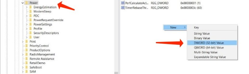hiberfil.sys - Generating a key in the Windows Registry
