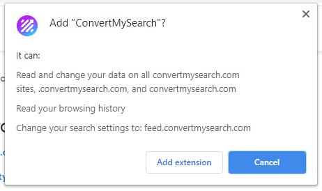 ConvertMySearch installation popup