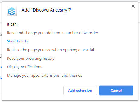 DiscoverAncestry installation popup