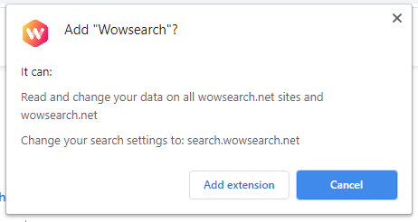 Wowsearch installation popup