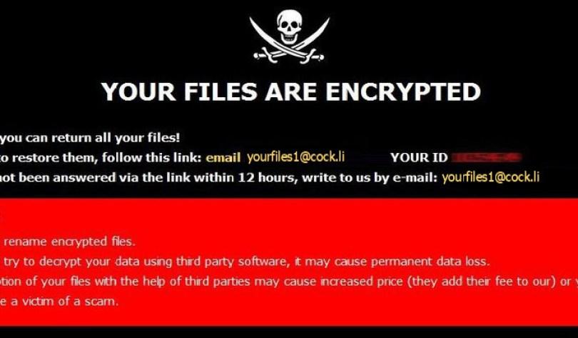 [yourfiles1@cock.li].YOUF virus demanding message in a pop-up window