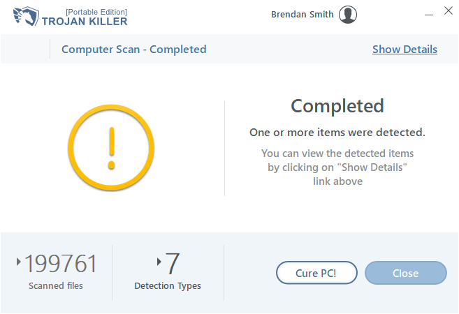 Trojan Killer finished the scan