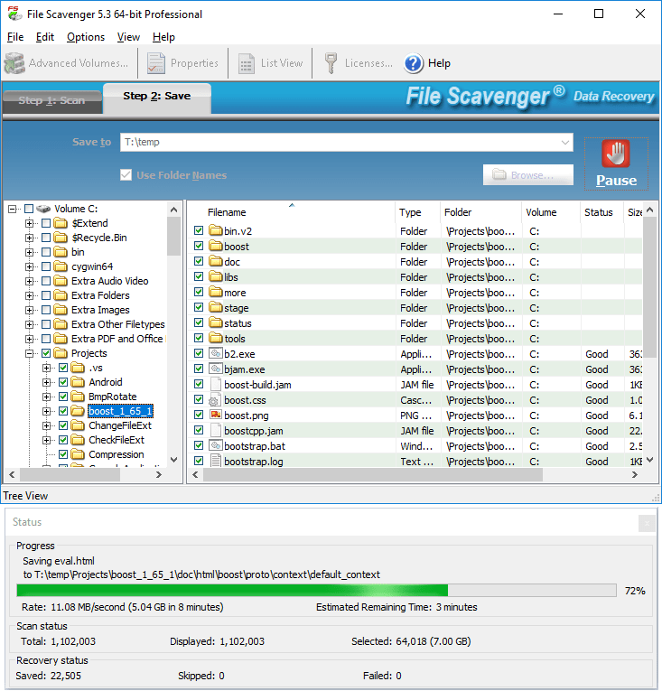 File Scavenger interface