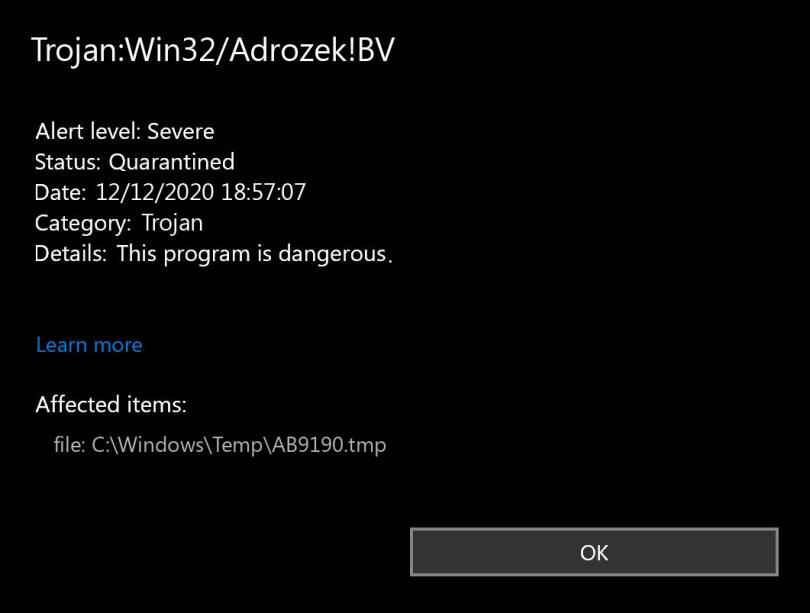 Trojan:Win32/Adrozek!BV found