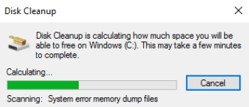 disk cleanup calculating