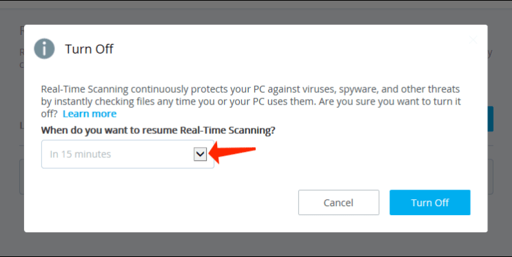 Temporarily Disable McAfee Antivirus Real-Time Scanning turn-off