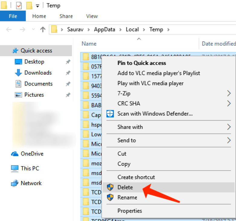 Boost Windows 10 - remove local temp-files windows