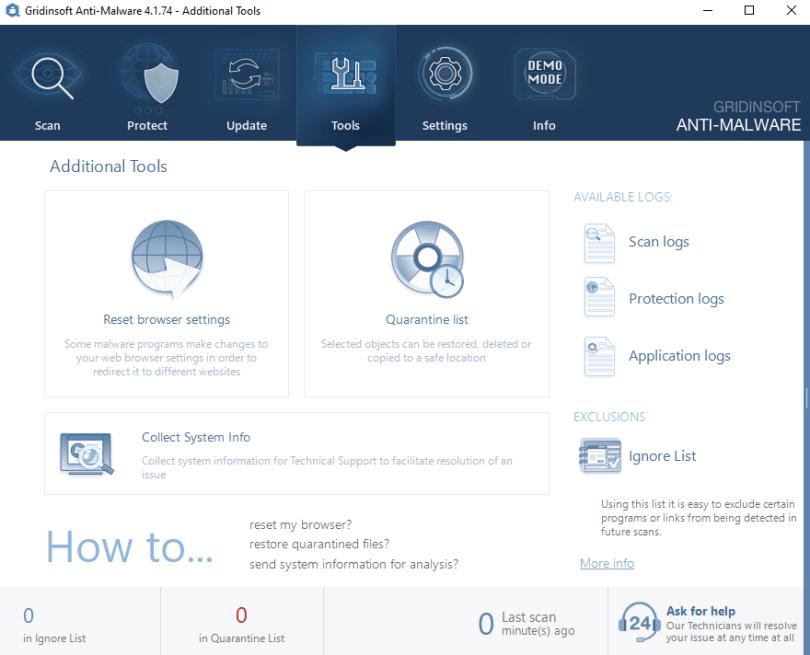 GridinSoft Anti-Malware Tools - Reset browser settings