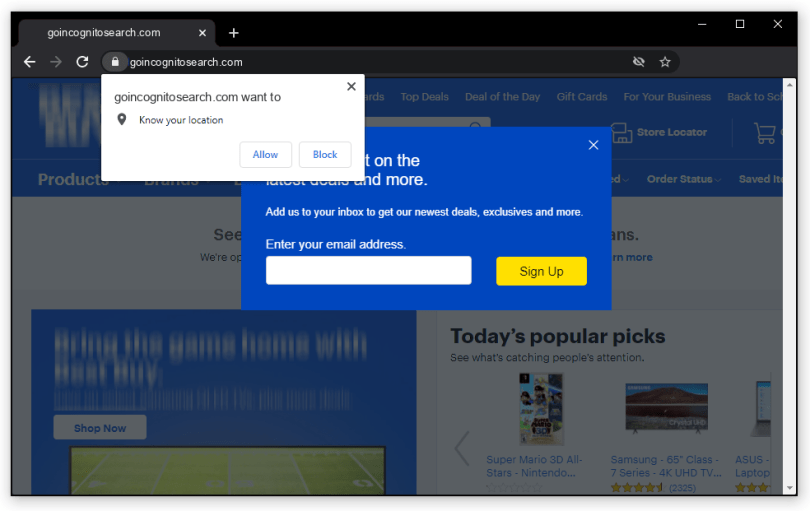 Goincognitosearch.com push notification