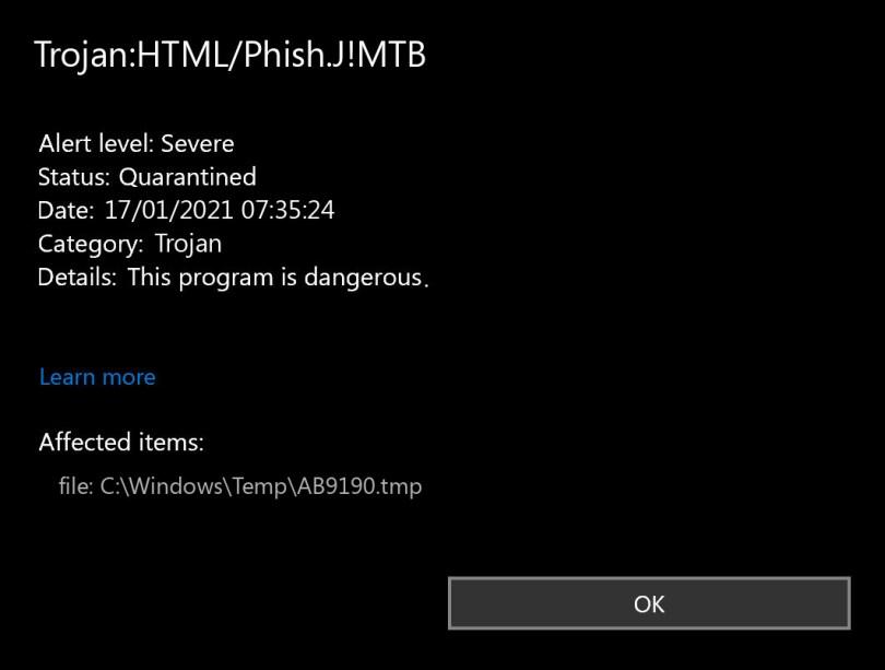 Trojan:HTML/Phish.J!MTB found