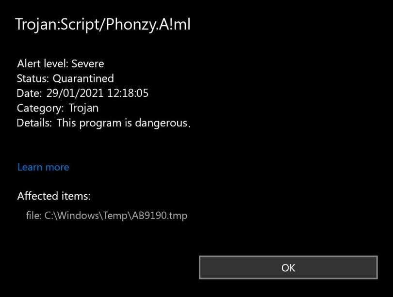 Trojan:Script/Phonzy.A!ml found